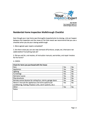 template for residential walk through form