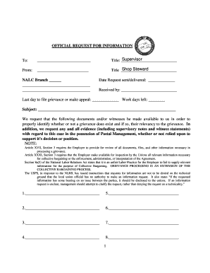 Nalc Request - Fill Online, Printable, Fillable, Blank | PDFfiller