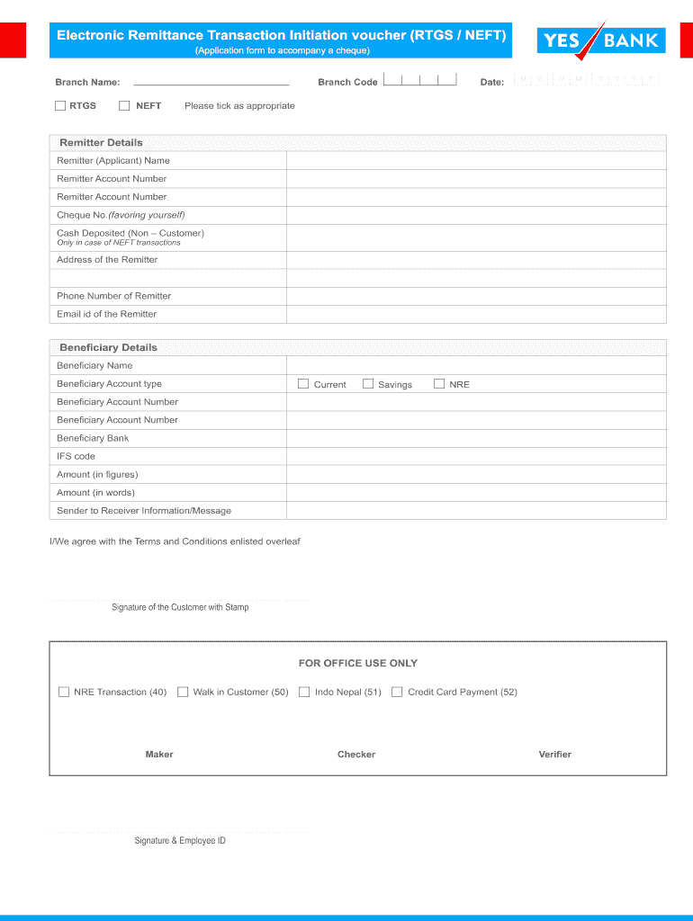Rtgs request form of yes bank