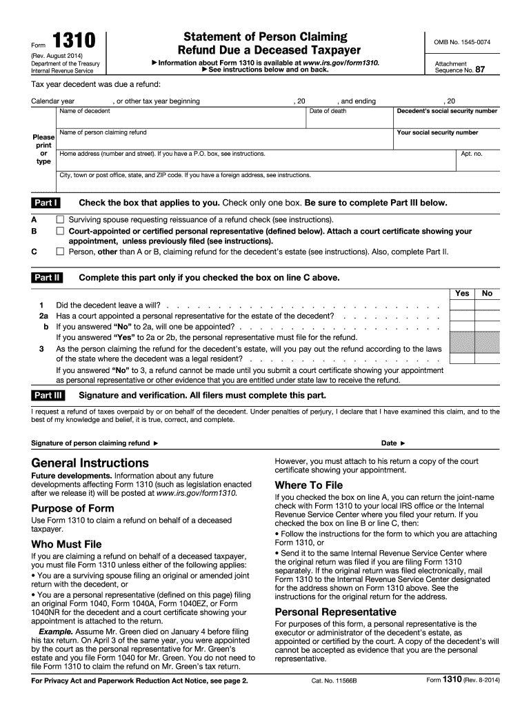 picture about Irs Form 1310 Printable identified as 2014-2019 Kind IRS 1310 Fill On the internet, Printable, Fillable