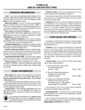 Fillable Online ksrevenue Form k-40 line-by-line instructions ...