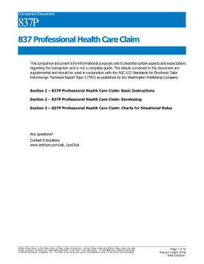 Fillable Online 837 Professional Health Care Claim ...