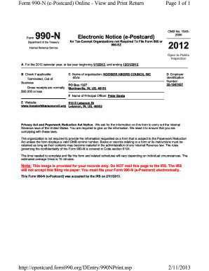 Fillable Online Form 990-N (e-Postcard) Online - View and Print ...