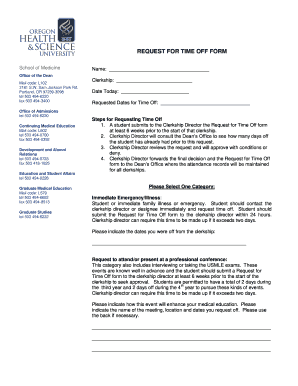 Fillable Online ohsu Time Off Request Form - ohsu Fax Email Print ...