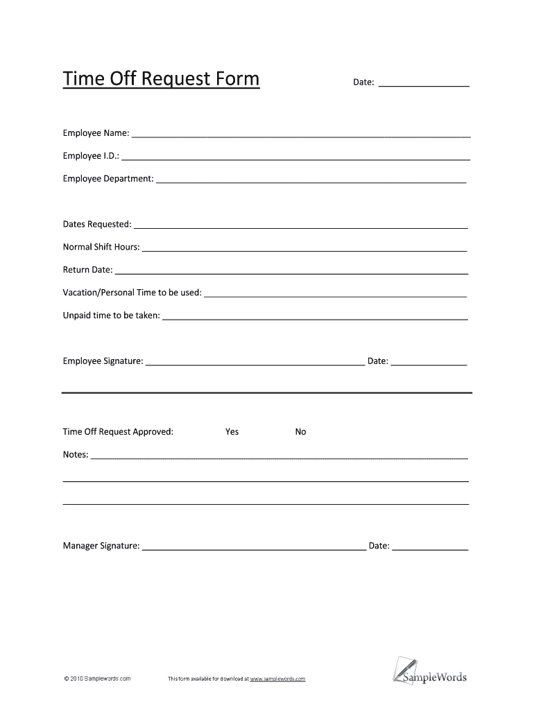 Time Off Request Form Template Pdf   Fill Online, Printable, Fillable,  Blank   pdfFiller