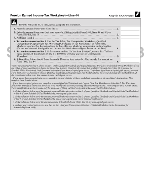 Foreign earned income tax worksheet 1040