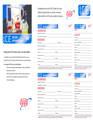in case of emergency card printable form