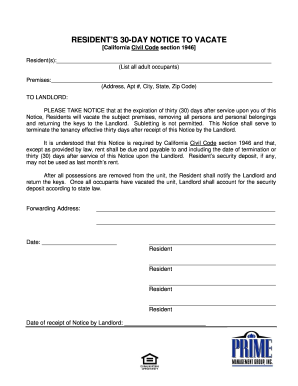 30 day notice template forms fillable printable samples for pdf 30 day notice to vacate in california form altavistaventures Image collections