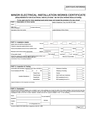 Iet forums wiring and regulations fill online printable for Electrical minor works certificate template