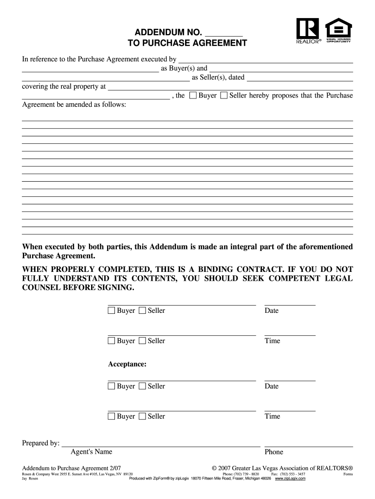 Blank Real Estate Contract Addendum Az Fill Online Printable