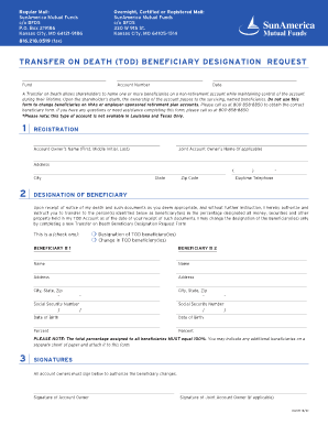 Fillable Online Sunamerica Transfer On Death Tod Beneficiary Designation Fax Email Print