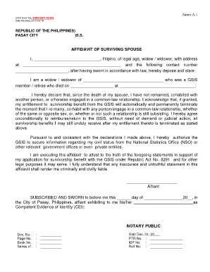 Gsis Survivorship Form  Printable Affidavit