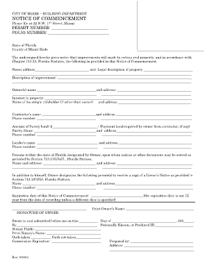 Notice Of Commencement Florida - Fill Online, Printable, Fillable ...