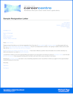 retirement resignation letters form