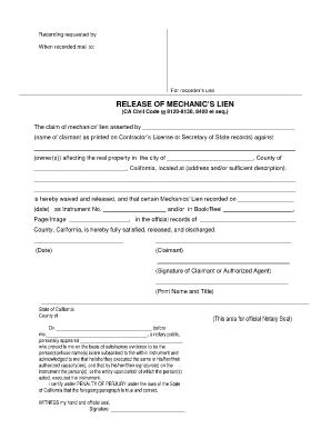 Bill Of Sale Form California Mechanics Lien Release Form