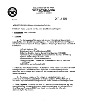 army policy letter 03 12 the army small business programs form