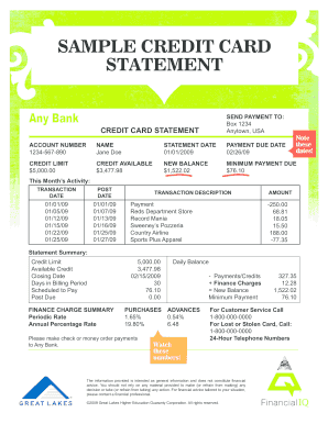 Sample Of Credit Card Statement - Fill Online, Printable, Fillable ...