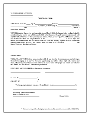 Co Quitclaim Form