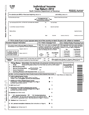 2012 Form NC DoR D-400 Fill Online, Printable, Fillable, Blank ...