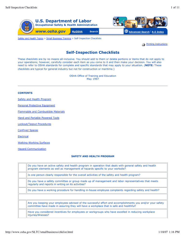 Osha Workplace Inspection Checklist - Fill Online, Printable