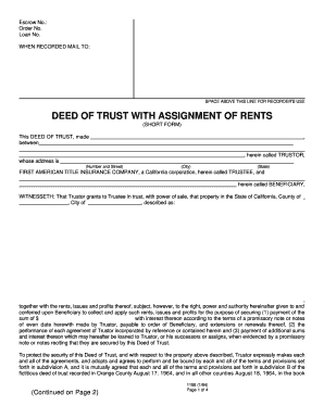 Deed Of Trust And Assignment Of Rents California Blank - Fill ...