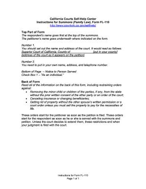 form fl 110 Instructions For Form Fl110 - Fill Online, Printable, Fillable ...