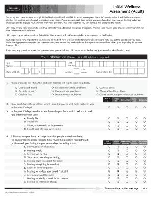 Ubh Wellness Assessment Form - Fill Online, Printable, Fillable ...