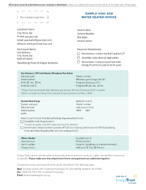 hvac and water heater invoice