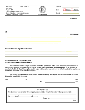 Summons Ky Form  Civil Complaint Template