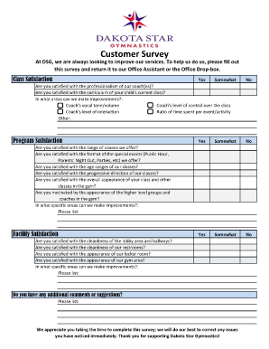 customer satisfaction survey gymnastics form