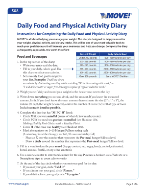 daily food and physical activity diary form