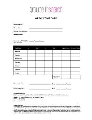 Online fillable time card form