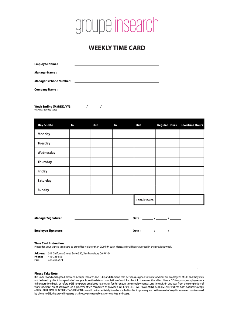 graphic about Printable Time Cards identified as Printable Timecards - Fill On the net, Printable, Fillable