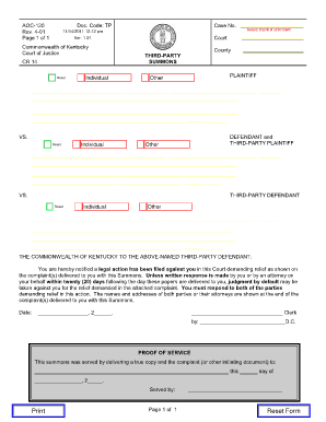 Rate This Form  Civil Summons Form