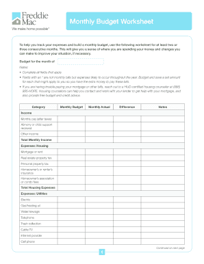 Printables Freddie Mac Monthly Budget Worksheet monthly budget worksheet form fill online printable fillable worksheet