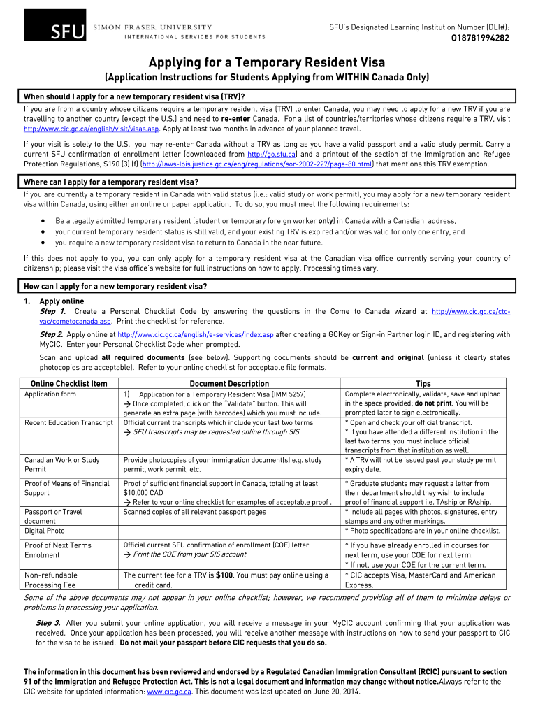 2014 Form Canada Sfu Application For A Temporary Resident Visa Fill Online Printable Fillable Blank Pdffiller
