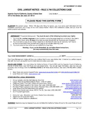 California Civil Lawsuit Notice Cv5012 - Fill Online, Printable ...