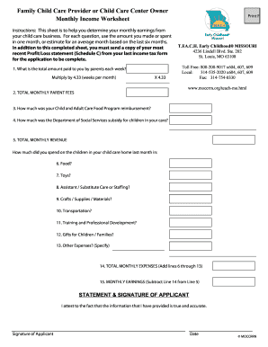 Child Care Provider Monthly Income Worksheet - Child Care Aware ...