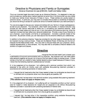 Advance Directive Form 166033
