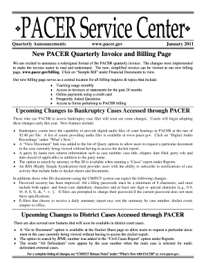 New PACER Quarterly Invoice and Billing Page - pacer