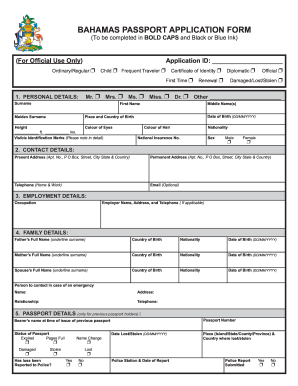 Bahamian Passport Renewal Form - Fill Online, Printable, Fillable ...