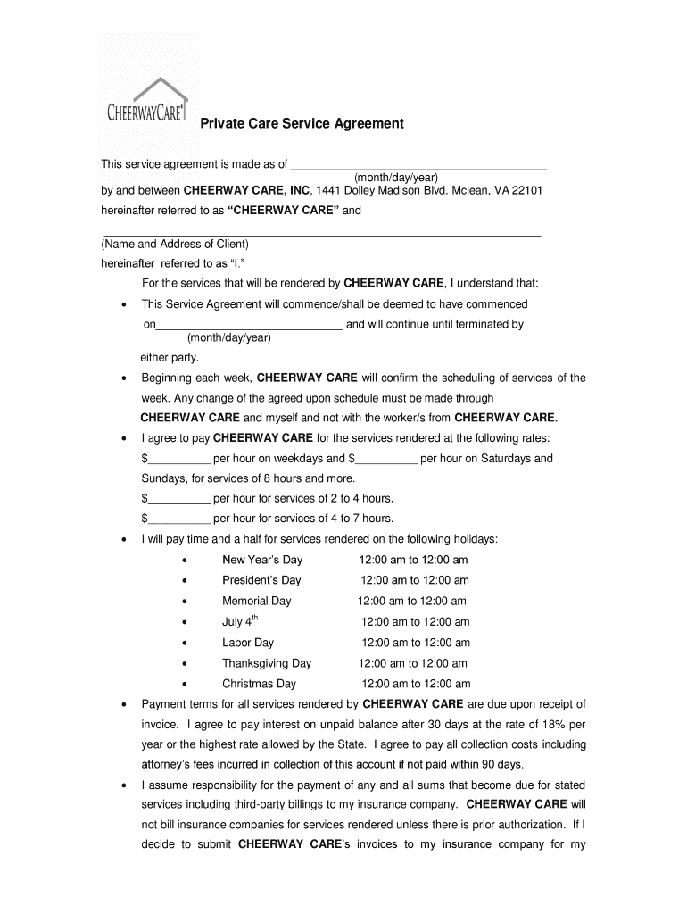 Home Care Service Agreement Fill Online Printable