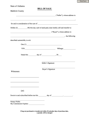 Alabama Bill Of Sale Form Templates Fillable Printable Samples