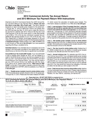 2013 commercial activity tax annual return form