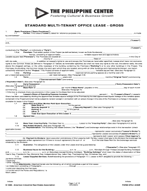standard multi tenant office gross form