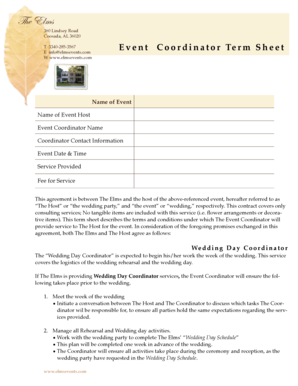 Event Coordinator Term Sheet TEMPLATE 2013 - Events at The elms