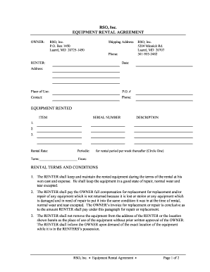 equipment rental contracts fill online printable fillable blank