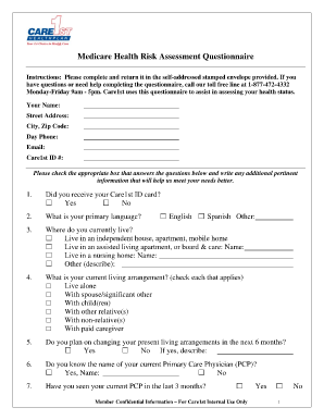 Pam health questionnaire fill online printable for Health assessment questionnaire template