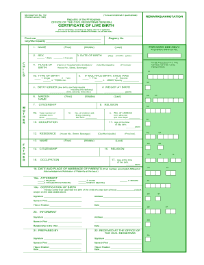 Preview Of Sample Form 102 Certificate Live Birth