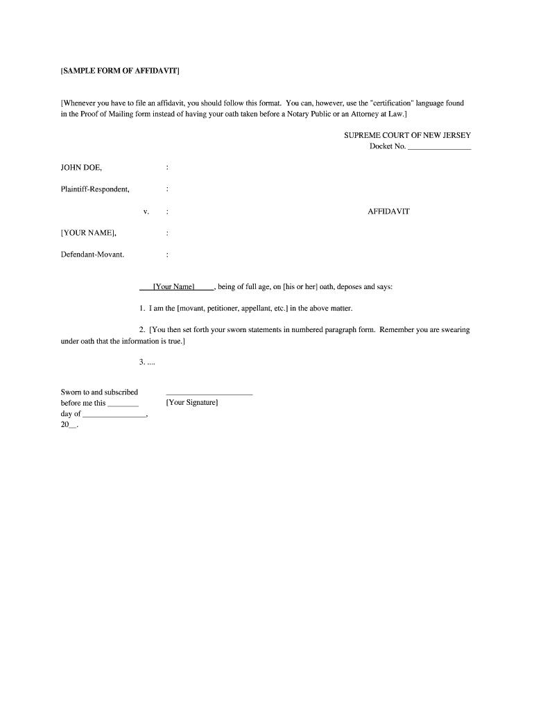 Nj Sample Affidavit - Fill Online, Printable, Fillable